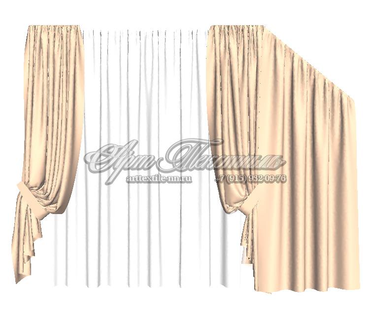 Дизайн штор на косое окно