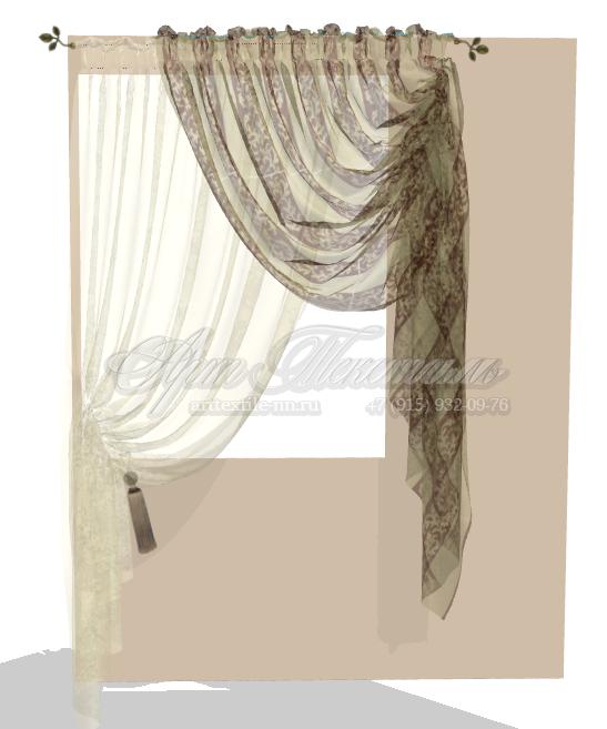 Эскиз декоративнх тюлей на кухню в бежево-коричневых тонах