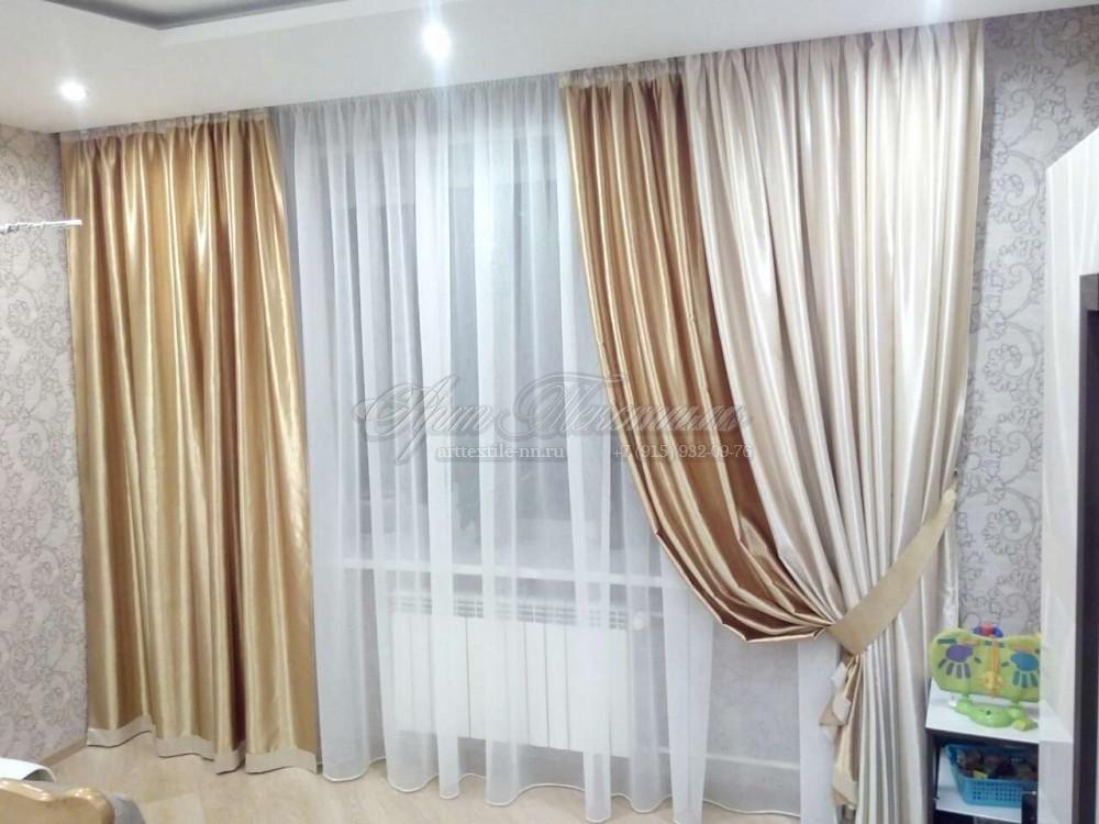Горчичные шторы с отделкойШторы для гостиной, горчичного цвета