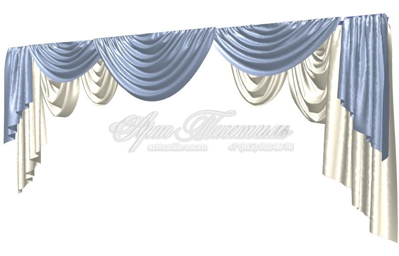 Ламбрекен для гостиной в стиле барокко. В стадии разработки. По низу элементов, по модели, отделочная тесьма с кистями.