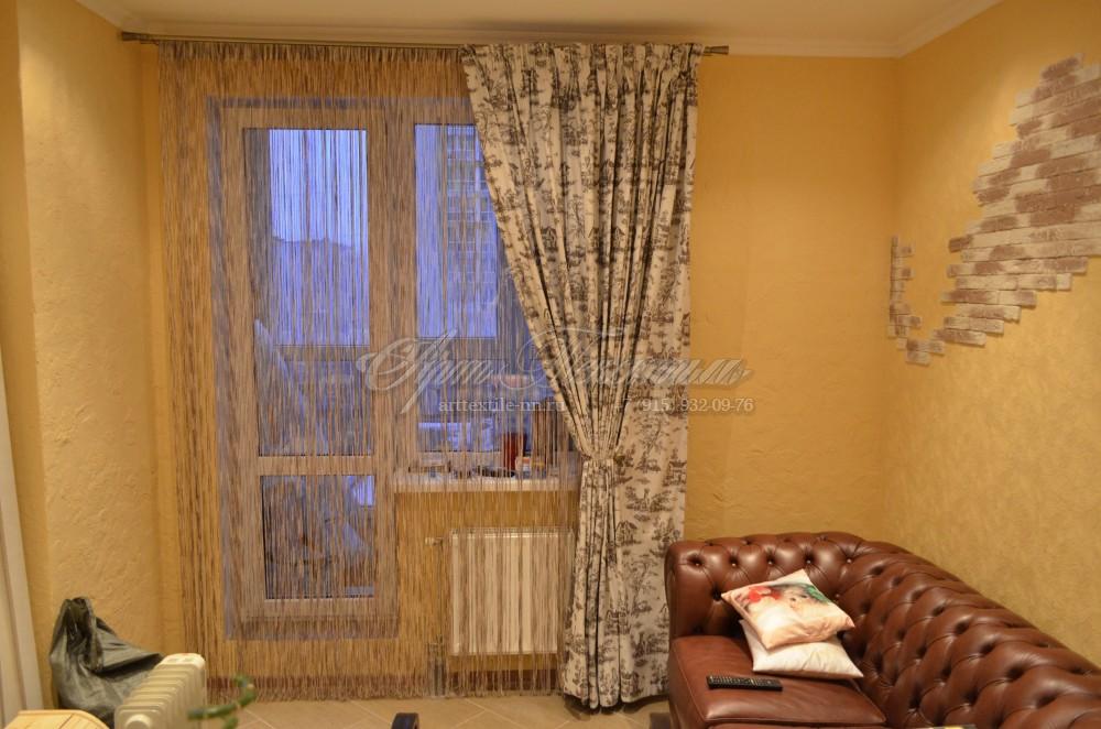 Нитяные шторы и портьера для кухни