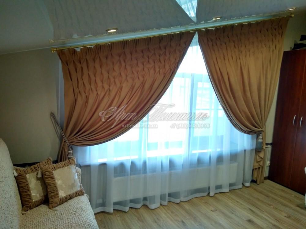 """Текстиль на мансарду для кабинета, техника """"буфы"""", скошенный потолок"""