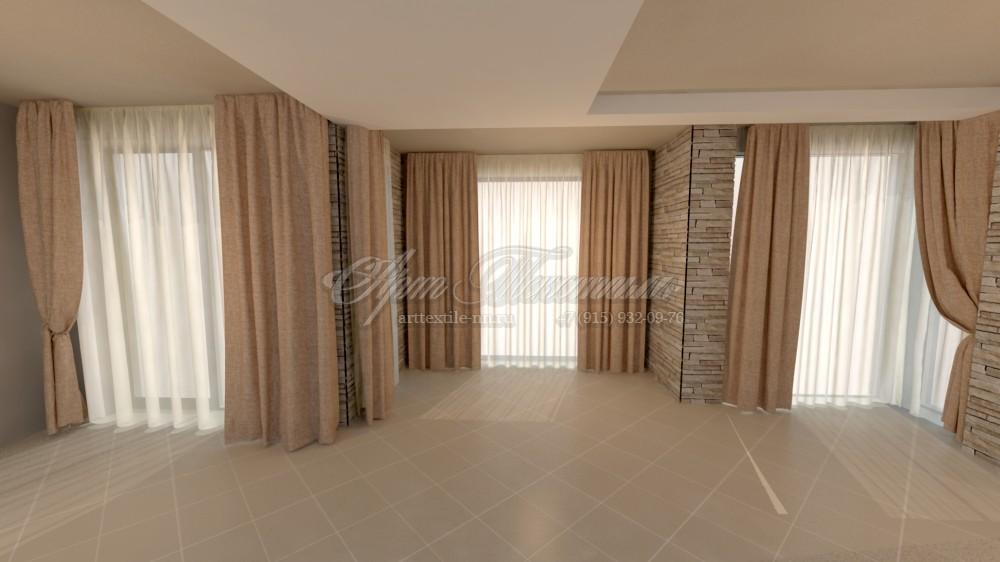 Проект гостиной, выполненный в 3D графике, в стиле модерн в нейтральных тонах