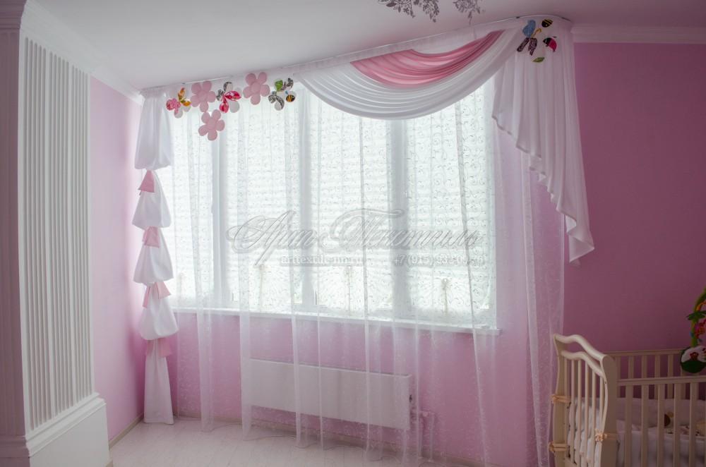 Шторы для детской комнаты (девочка 1 год)розовый, ламбрекен, шторы
