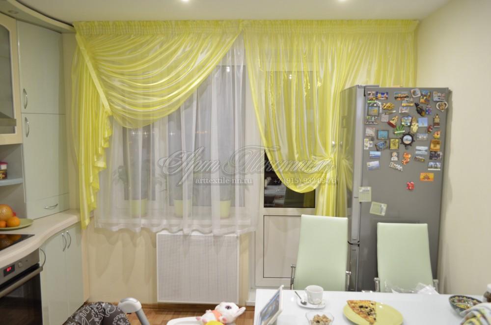 Шторы для кухни лимонного цвета