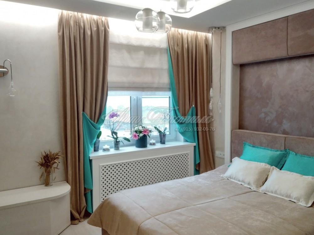 Шторы на подкладке для спальни, покрывало, подушки.Шторы на подкладке бирюзового цвета. Покрывало + подушки.