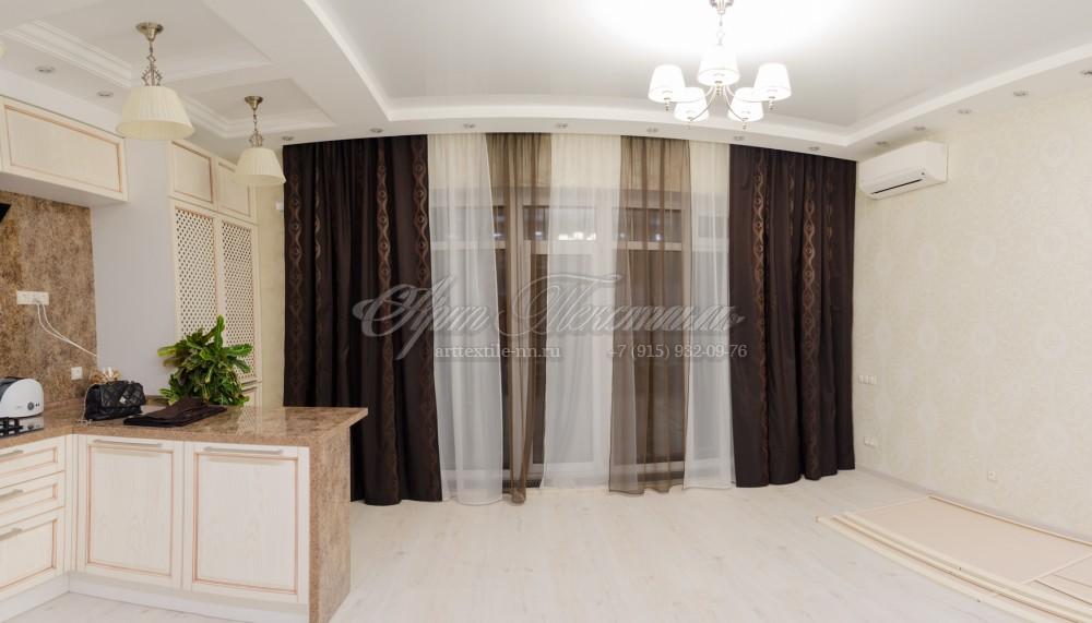 Шторы в гостиную. Стиль модерн/кантри в коричневых тонахШторы в гостиную. Стиль модерн/кантри в коричневых тонах
