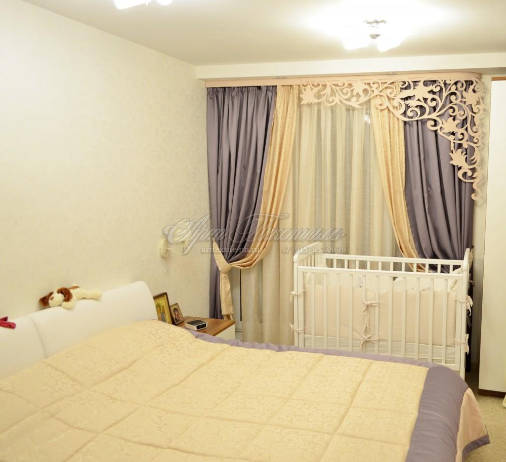 Спальня для молодой пары, шторы+покрывало