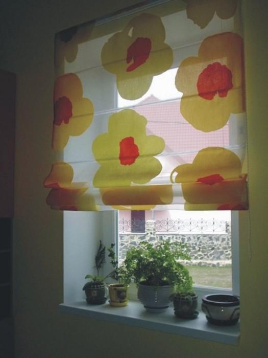 Римские шторы13 желтые цветы