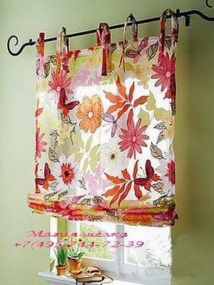 Римские шторы27 на завязках цветы красный
