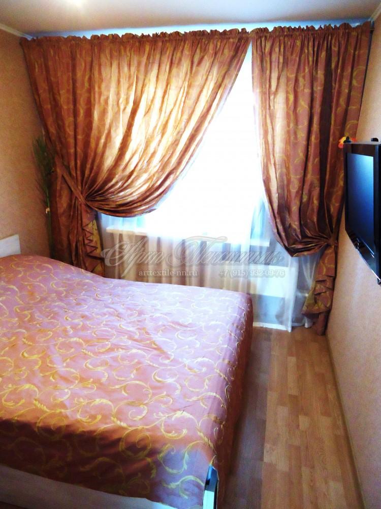 Шторы с покрывалом для спальни