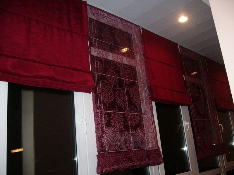 Римские шторы16 комбинированные органза красный
