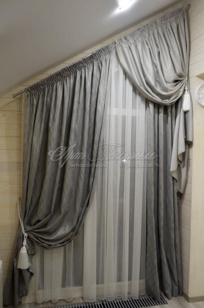 Шторы на косое мансардное окно. Цвет серый камень.