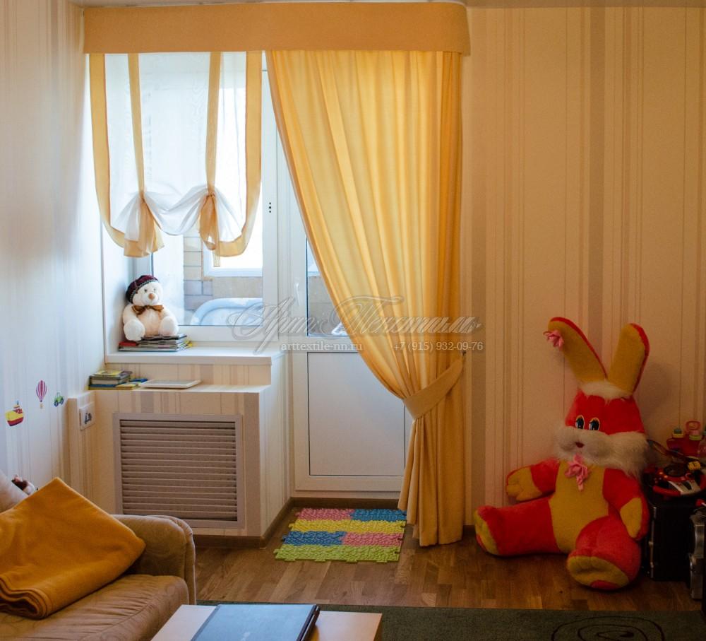 """Детская комната, шторы """"желточного"""" цветажелтые шторы, бандо, детская комната, австрийская штора"""
