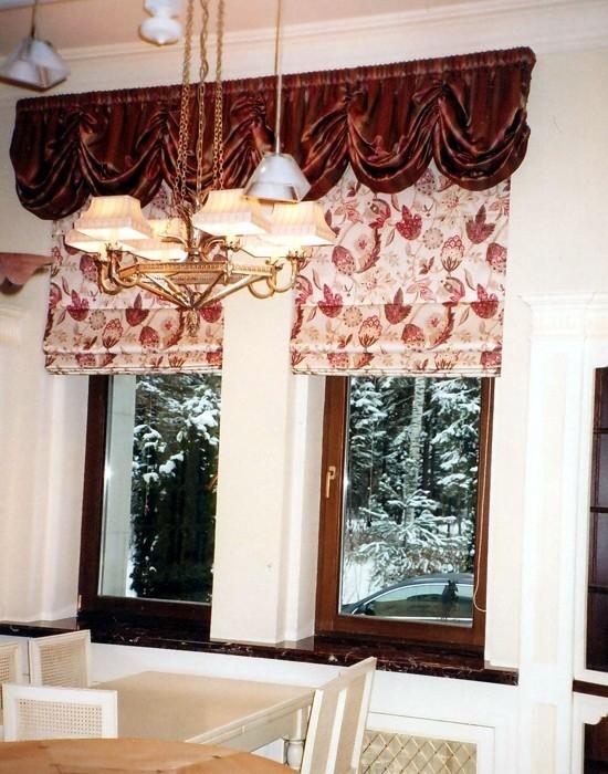 Римские шторы24 коричневый бордо фестоны
