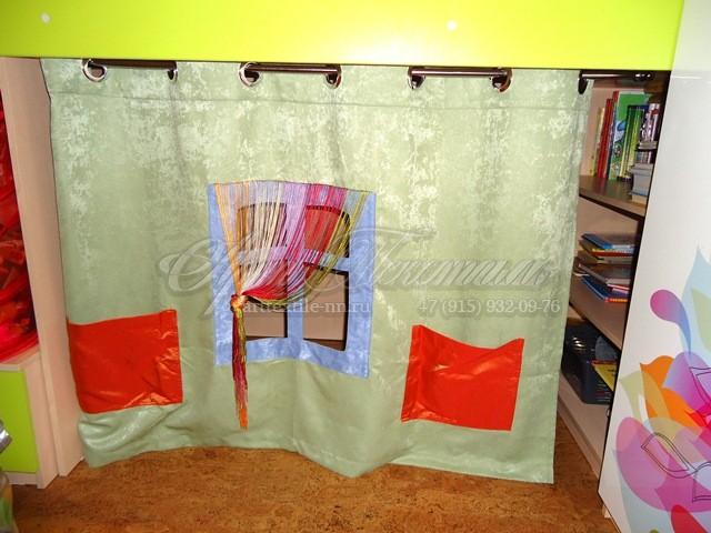 Зонирующая шторка в детский домик под кроватью