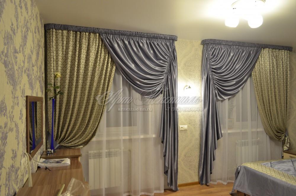 Шторы для голубой спальни, двухслойныеШторы для голубой спальни, двухслойные