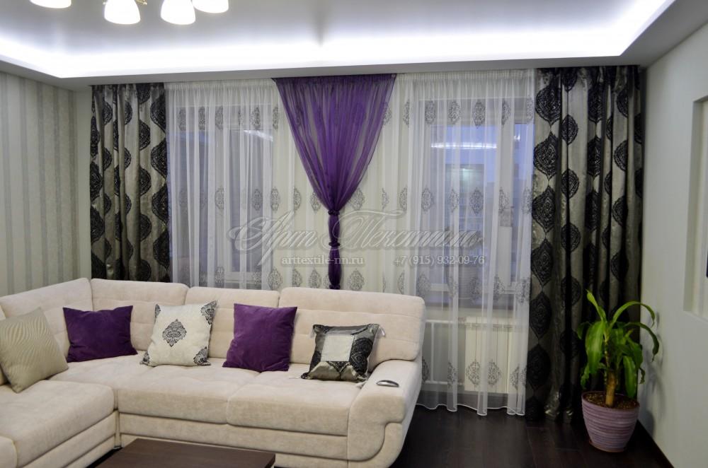 Шторы для гостиной, цвет фиолетовый