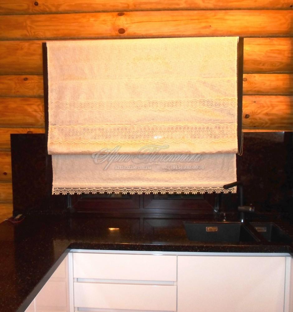 Римская штора для кухни в деревенском стиле в загородном доме