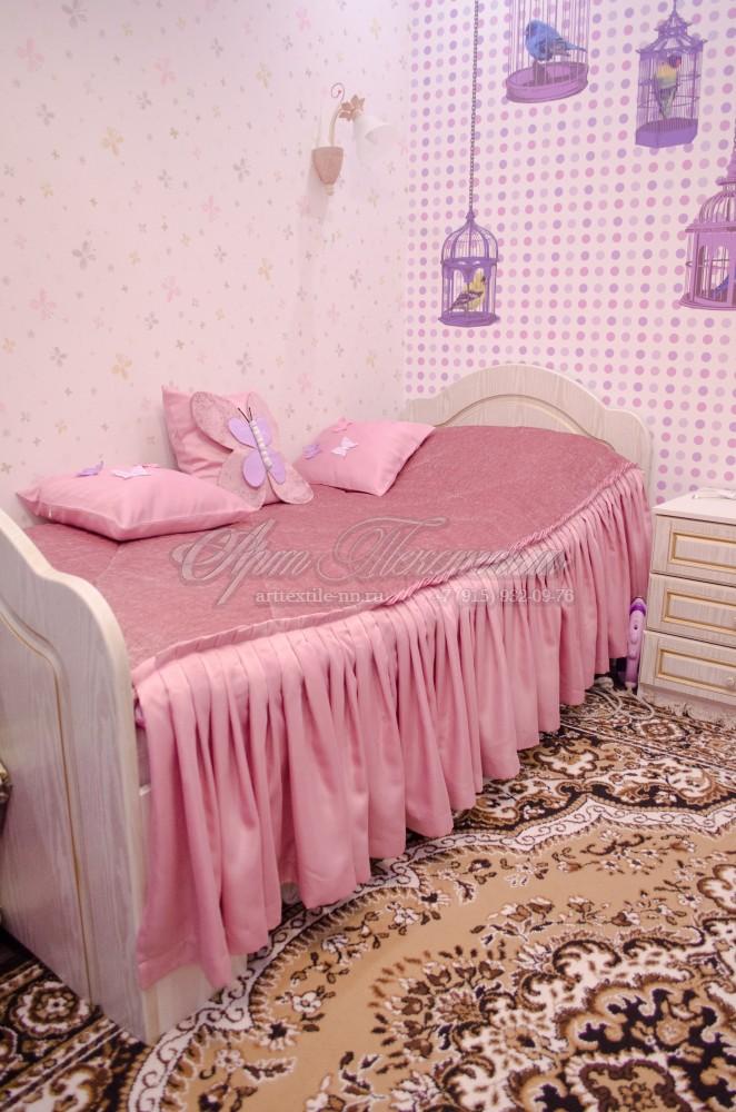 Покрывало и подушки в комнату девочки