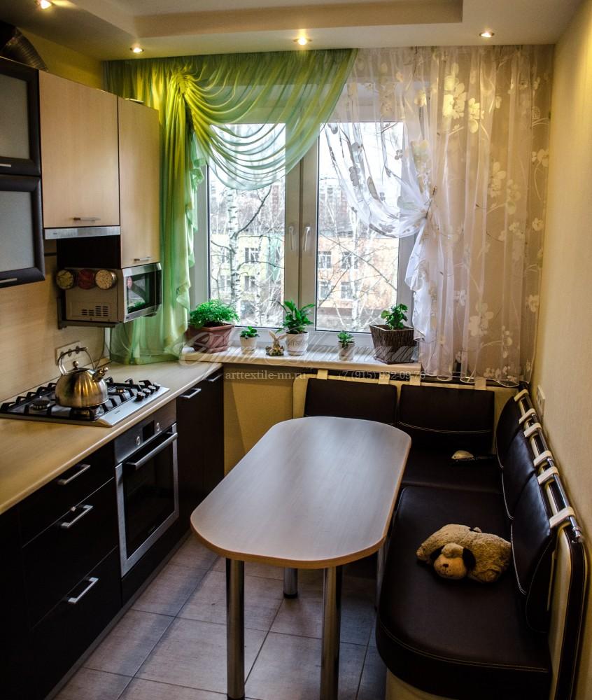"""Шторы для кухни """"воздушные""""Зеленый, цветочек"""