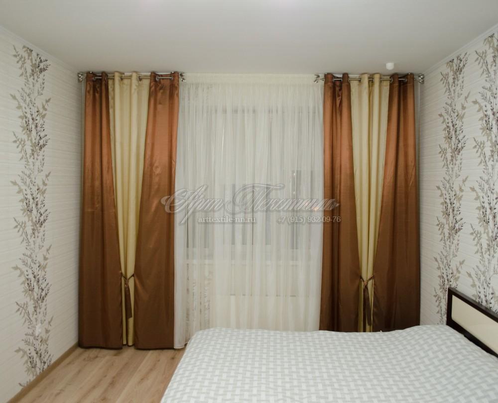 Шторы для спальни, с завязкамиКоричневые шторы с завязками, тафта, декоративные (нерабочие) шторы