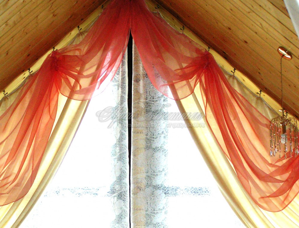 Декоративные тюли для мансарды в деревянный дом
