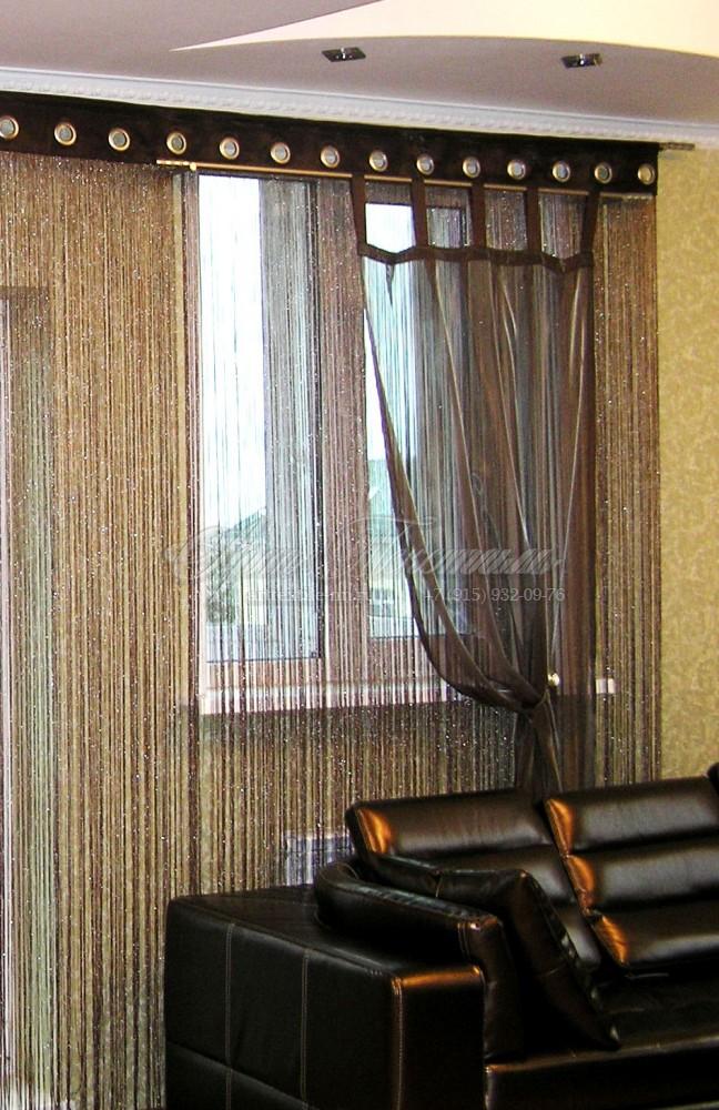 Нитяные шторы, штора на петлях. Отделка люверсами.