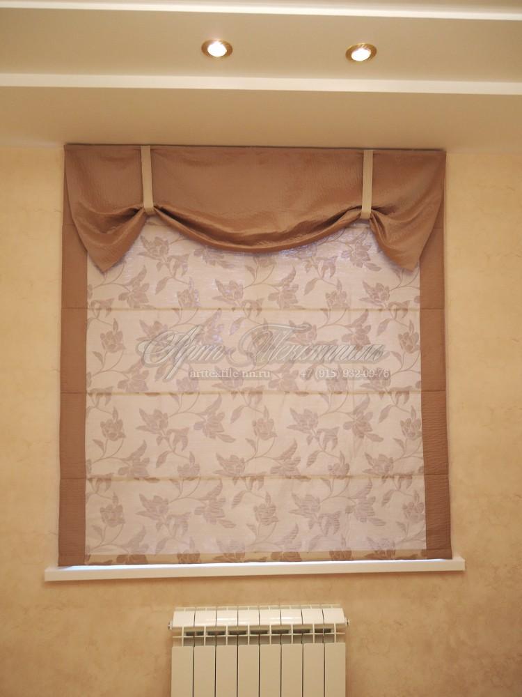 Римская штора для кухни. Цветы.