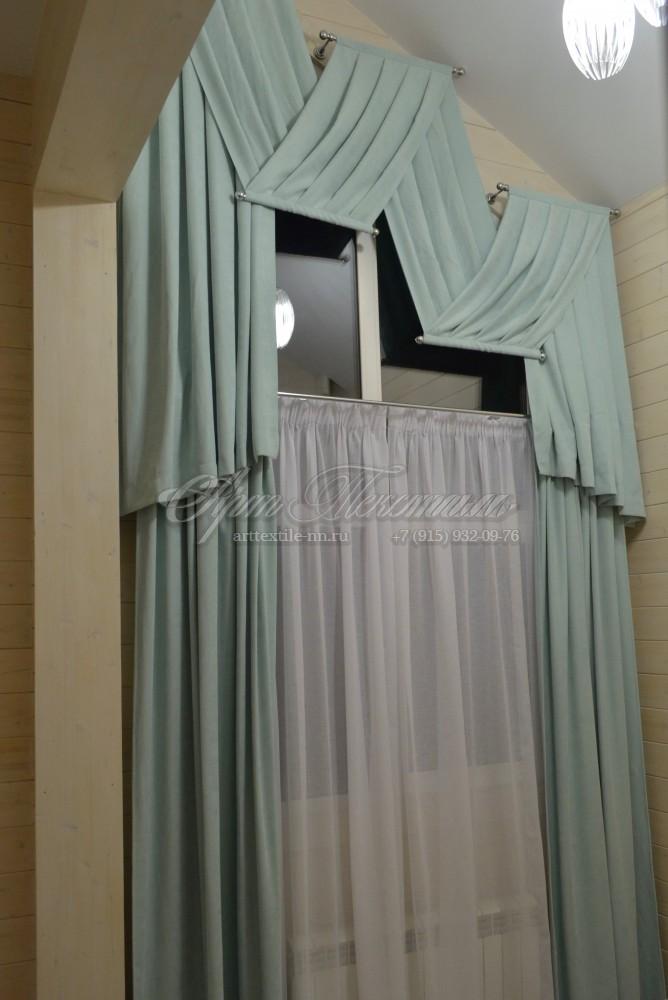 Шторы на косое мансардное окно. Мятный вельвет.