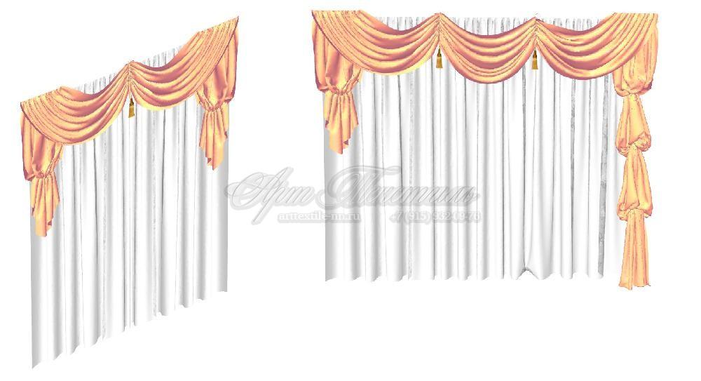 Эскиз ламбрекена из прозрачной ткани для гостинойЭскиз ламбрекена из прозрачной ткани для гостиной