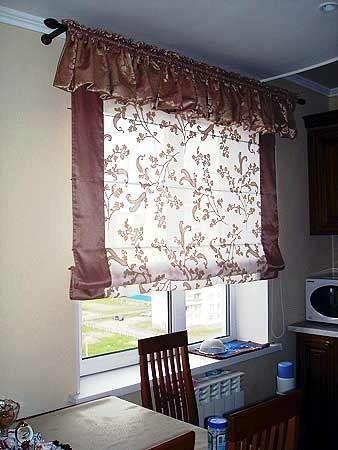 Римские шторы4, коричневые для кухни
