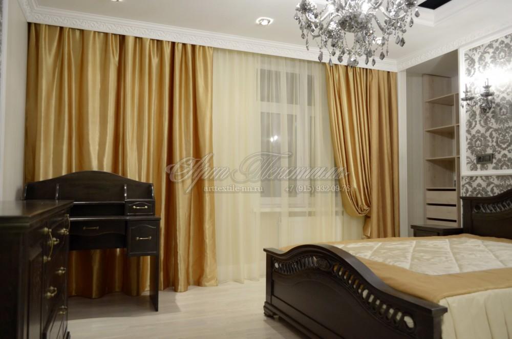 Горчичные шторы для классической спальниГорчичные шторы для классической спальни