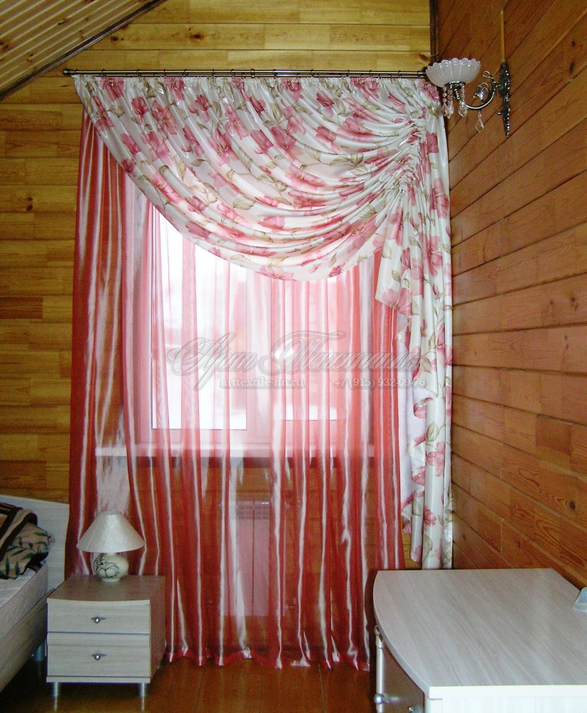 Спальня, розовый комплект штор
