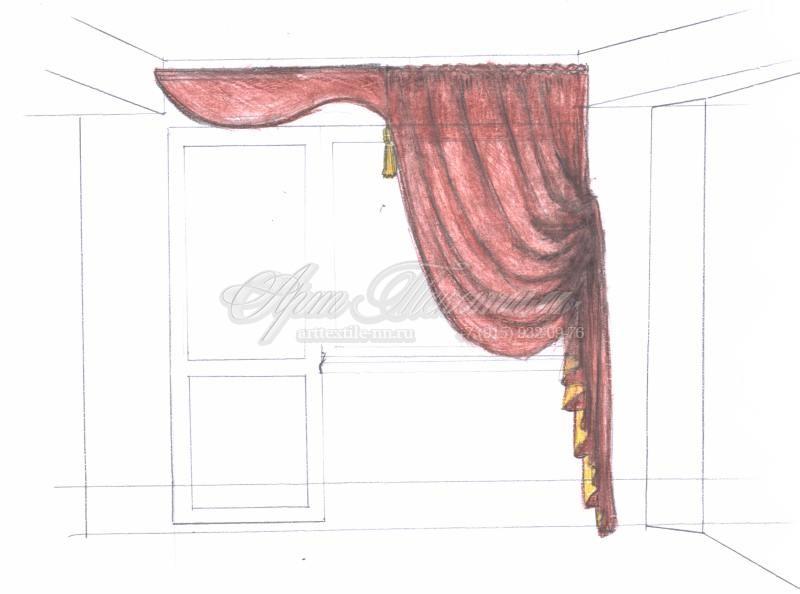 Жесткий ламбрекен+ итальянская штора.Пошив штор.