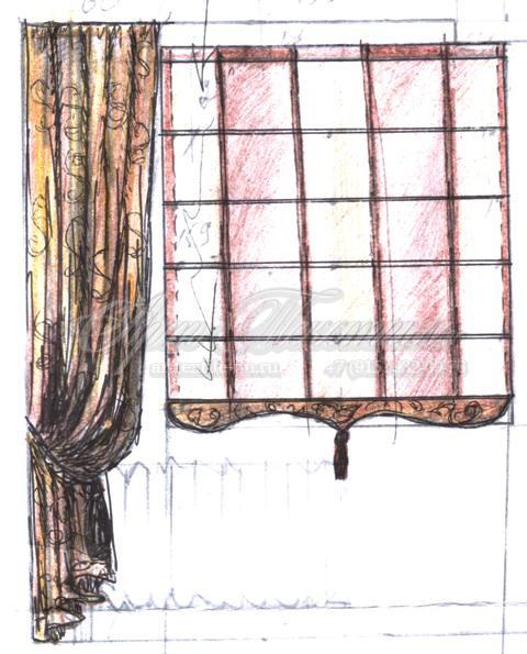 Римская штора эскиз.Пошив штор.