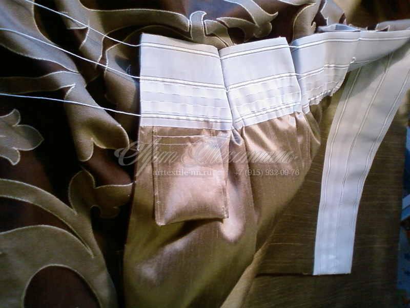 Обработка портьер на подкладке.Пошив штор.