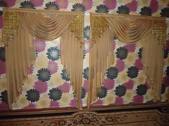 Ламбрекен26 два окна бежевый кремовый