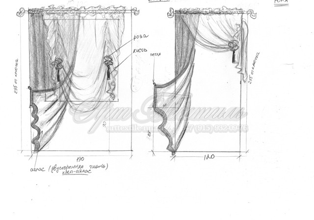 Эскиз штор для спальни