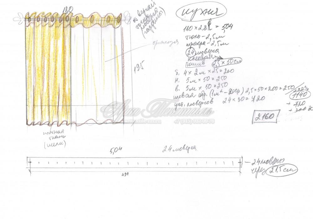 Эскиз штор для кухни