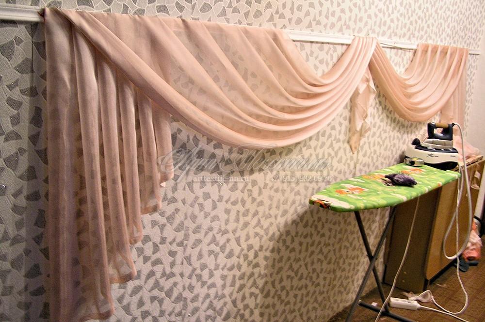 Ламбрекен в зал.Розовый.Пошив штор.